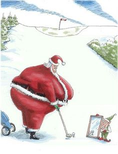 LOL ~  Santa Golfing with a little help from an elf!