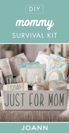 Celebrate the fellow moms in your life this Mother's Day with this Mommy Survival Kit from JOANN! Complete with pampering essentials, this is one store-bought gift with a handmade twist you don't want to miss. Mother's Day Projects, Coconut Oil Soap, Fabric Storage, Craft Party, Joanns Fabric And Crafts, Survival Kit, Perfect Party, Mother Day Gifts, Craft Stores