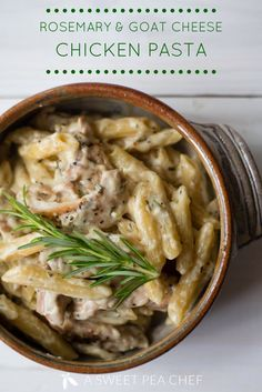 Creamy Rosemary & Goat Cheese Chicken Pasta The most beautiful, most delicious, newest recipes on th Pasta Recipes, New Recipes, Chicken Recipes, Dinner Recipes, Cooking Recipes, Healthy Recipes, Greek Recipes, Salmon Recipes, Salmon Food
