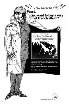 Advert for Gainsbourg & Birkin's infamous single and Je T'aime album