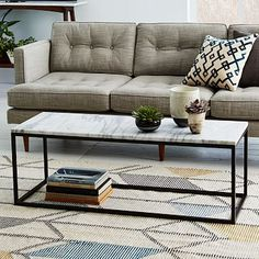 "Box Frame Coffee Table - Marble #westelm Narrow: 48""w x 17""d x 16.8""h. •Wide: 44.25""w x 24.5""d x 17""h. $499"