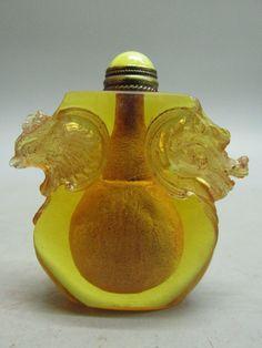 Chinese Peking Glass Carved Dragon & Phoenix Shape Snuff Bottle