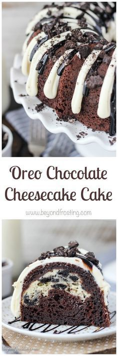 Stop drooling and start eating this Oreo Chocolate Cheesecake Cake. A dark chocolate bundt cake layered with an Oreo cheesecake and covered in a chocolate cheesecake glaze.