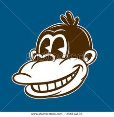 Vintage toons: retro cartoon monkey character, smiling ape face, classic style vector illustration