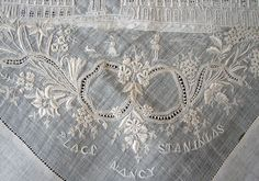 "Maria Niforos - Fine Antique Lace, Linens & Textiles : Antique Lace # LA-215 Exquisite ""Grand Tour"" Appenzel Hankerchief ""Place Stanislaus Nancy"""