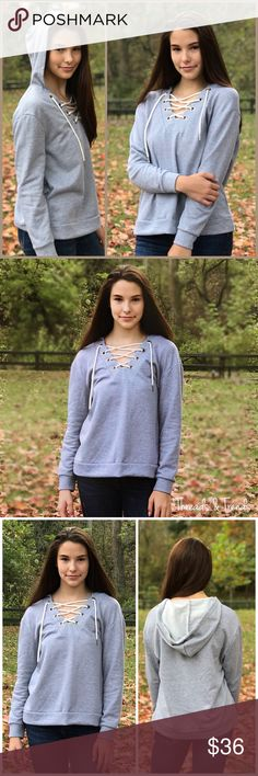 """🆕🌸 Lace Up Hoodie Heather grey Lace up hoodie. Large grommet detail lace up neckline. Made of a cotton/poly blend. Pair with denim, yoga pants, shorts.  XS Bust 40"""" Length 23"""" Small Bust 42"""" Length 24"""" Medium Bust 44"""" Length 24"""" Large Bust 46"""" Length 24"""" Windsor Tops Sweatshirts & Hoodies"""
