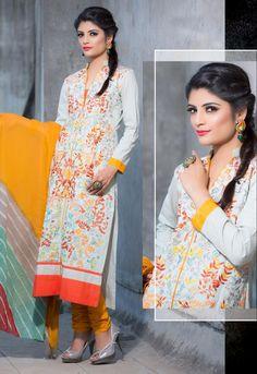 Off White Designer party wear salwar kameez From Onlinesareessshopping.com