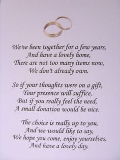 Wedding poems asking for money gifts not presents - Ref: no 1 | eBay