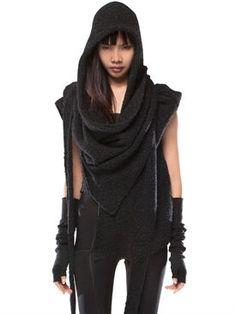 demobaza - women - knitwear - gateway wool hooded shawl scarf