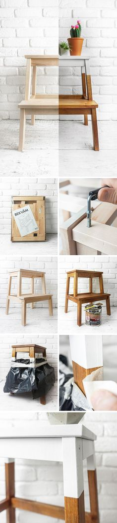 Ikea hack using a Bekvam foot stool. This mod uses a dark wood stain with some masking to create a white dip die paint effect.