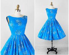 vintage 1950s dress / 50s dress / Sky Blue and Gold Hawaiian FloralPrint Party Dress