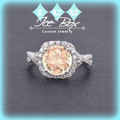 Morganite Engagement Ring ~ 1.75ct, 8mm Round Peachy Pink Morganite in a 14k White Gold Twist Shank Diamond Halo Setting  ~ $1,590