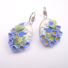 Earrings - Handmade Polymer Clay Jewelry,Flower Earrings, Clay Earrings, Polymer Clay, Women Jewelry, Dangle Earrings OB1041