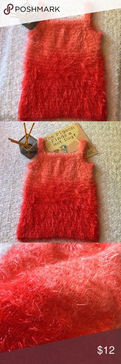 "red • ombré • tank • top Jazz up a tank top!! Fluffy, furry and soft. Cute with pants, capris, shorts or skirts. Pair this with a long T for a layered look. Chest 13"" Length 21"". 100% polyester. Shirts & Tops Tank Tops"