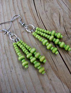 Lime Green Wood Beads Triple Dangle Earrings by MultiPolarity, $5.00