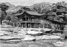[김영택 화백의 세계건축문화재 펜화 기행] 함양 화림동계곡 동호정 - 중앙일보 뉴스 Pen Sketch, Sketches, Ink Pen Drawings, Korean Art, Scenery, Paintings, Japan, Fantasy, Places