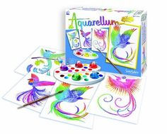 """Sentosphere Artistics for Kids - Birds of Paradise by SentoSphere. $18.99. 5 non-toxic water colors. 1 pallet used to mix and create colors. Designed for ages 7 years and older. 1 high quality paint brush. 4 different Birds of Paradise themed ready to paint """"magic canvases"""". These easy to use sets feature a distinct and unique method that makes painting-by-numbers obsolete. The painter has complete control. Unique embossed picture cards absorb paint in some areas an..."""