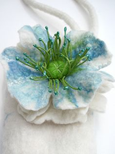 wet felted white poppy glass case or coin purse