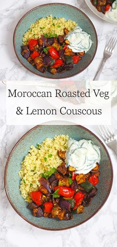 Moroccan roasted veg with preserved lemon couscous and cucumber yogurt sauce Healthy Eating Recipes, Vegan Breakfast Recipes, Veg Recipes, Vegan Recipes Easy, Vegan Couscous Recipes, Eating Vegan, Vegan Yogurt, Vegan Dinners, International Recipes