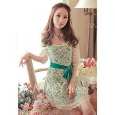 $10.78 Stylish Scoop Neck 1/2 Sleeve Belt Embellished Lace Dress for Women