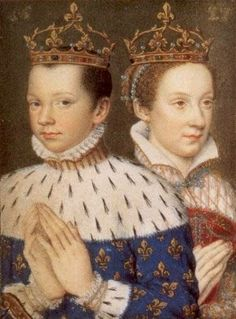 "Francis II of France & his wife Mary, Queen of Scots. (The double portrait was taken from Francis' mother, Catherine De Medici's ""Book of Hours"".)"