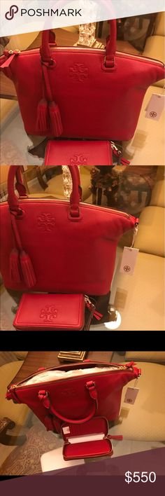 Authentic Tory Burch Thea Medium slouchy Leather Authentic Tory Burch brand new leather satchel bag, Rusty red and brand new wallet. The bag is sold out from Neiman Marcus at $495.00. Only serious offers. THE WHOLE PROCESS FROM PACKING TO SHIPPING WILL BE VIDEOTAPED...  BAG and WALLET $550.00 Tory Burch Bags Satchels