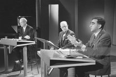 Edward Teller (R) and Dr. Linus Pauling (L), the most outspoken advocates for and against the testing of nuclear weapons, meet in a face to face argument for the first time. In the center is James Day, General Manager of KQED-TV, on which the debate took place.