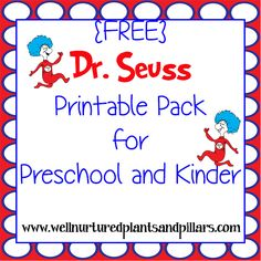 DR SEUSS free printables pack for kindergarten Preschool Themes, Preschool Lessons, Preschool Classroom, In Kindergarten, Classroom Ideas, Preschool Learning, Classroom Activities, Learning Time, Autism Classroom