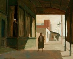 Rick Amor (Australian, > Miss Prosser and the albino, 26 x Australian Painters, Australian Artists, Landscape Artwork, Urban Landscape, Artist Painting, Artist Art, Italian Painters, Contemporary Artists, Illustration Art