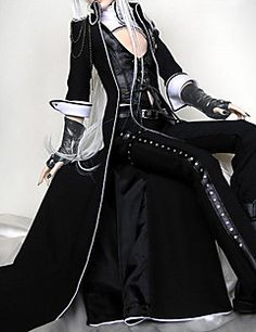 Vampire+Viscount+BJD+Outfits+Punk+Lolita+Lolita+Cosplay+Lolita+Dress+Black+Solid+Lolita+Coat+/+Vest+/+Pants+For+Women+Leather+/+Uniform+Cloth+–+USD+$+57.09