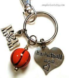 Basketball Mom Keychain Handstamped Keychain Sports by AmyDavisArt  #basketballmom #sportsmom #mothersday