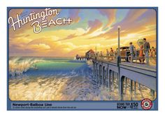 Vintage Travel Poster USA - California - Huntington Beach***Research for possible future project.