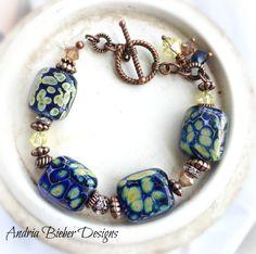 Blue lampwork glass, Swarovski crystal and copper metal bracelet. - Andria Bieber Designs, Bracelet - Jewelry, McKee Jewelry Designs - Andria Bieber Designs