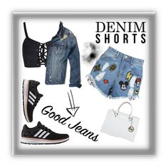 """Denim shorts #fashion"" by savirafianiesa on Polyvore featuring Hollister Co., adidas and Michael Kors"