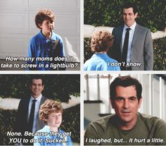 One of my favorite shows of all time and with fall coming up that means a whole new season of the Dunphys, espcially Phil show is the life blood of the show. Enjoy these Modern Family TV Quotes. See more modern family quotes. Tv Quotes, Movie Quotes, Funny Quotes, Funny Humour, Hilarious Jokes, Big Bang Theory, Modern Family Funny, Modern Family Quotes, Funny Family