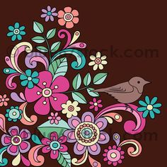 Hand-Drawn Psychedelic Flowers and Bird Doodle Vector Illustration by blue67design, via Flickr