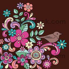 flores y pajaro