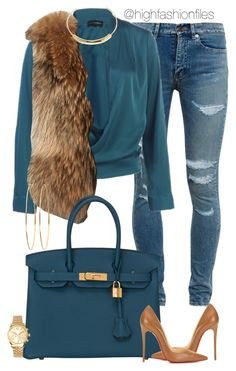 """Aqua Vibes"" by highfashionfiles ❤ liked on Polyvore featuring Yves Saint Laurent, Adrienne Landau, Hermès, Christian Louboutin, Jennifer Fisher, Jennifer Meyer Jewelry and Michael Kors"