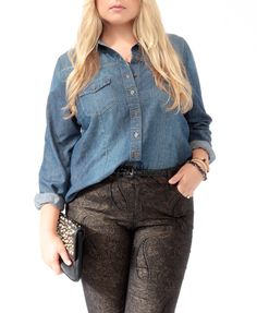 Perfect inexpensive plus size Denim /  Chambray Shirt