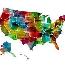 Wall Mural - USA Watercolor Map