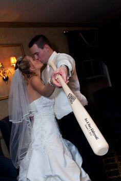 baseball wedding =) (use the bat idea for engagement photos)