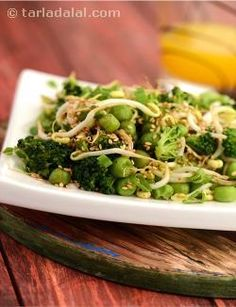 A combination of antioxidant and fibre rich greens like broccoli and green peas with bean sprouts is an asset for weight-watchers. The sesame seeds add a unique taste to this salad.
