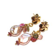 Coin Pearl Earrings Tourmaline Earrings Pearl Drop Earrings Tourmaline Jewelry Pink and Green Earrings Valentine's Gift FizzCandy