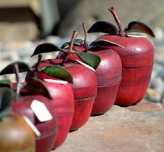 Handmade Leather Red Apple Containers by robwolf on Etsy, $250.00