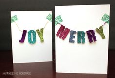 Glittered Chipboard Banner Christmas Cards - Happiness is Homemade #glitteratmichaels #spon