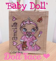 Hand Painted and Personalised Jute Bag, Babies, Children £14.99