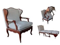 View this item and discover similar for sale at - A rare and large-scaled French Louis XV fruitwood metamorphic chair transitioning into a chaise lounge; Woodworking Organization, Woodworking Workbench, Woodworking Furniture, Woodworking Projects, Diy Furniture, Woodworking Quotes, Woodworking Basics, Woodworking Logo, Woodworking Patterns