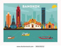 Bangkok city. Thailand. Vector - stock vector