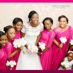 Fuchsia pink never looked better! More bridesmaids dresses here - http://www.weddingfeferity.com/nigerian-bridesmaid-dresses/ #weddingfeferity