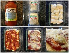 Easy Baked Ravioli Recipe and picture tutorial I used Prego Florentine Spinach and cheese and made a fresh salad in the side. Excellent easy dish and delicious! Easy Baked Ravioli Recipe, Ravioli Bake, Cheese Ravioli, I Love Food, Good Food, Yummy Food, Up Girl, Italian Recipes, Yummy Treats